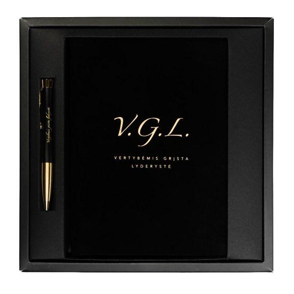 V.G.L. verslo dovana: darbo knyga ir rašiklis dovanų dėžutėje (lietuvių kalba)